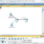 Screenshot of Packet Tracer lab with network topology.