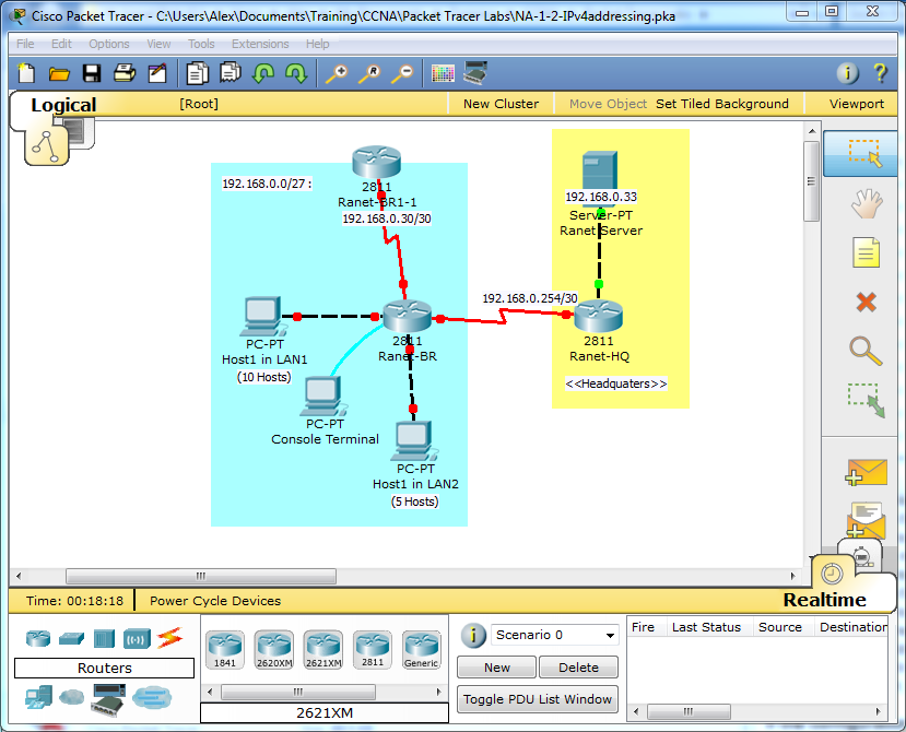CCNA lab 1-2 network topology.