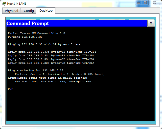 Ping the Ranet Server from Host1 on LAN1.