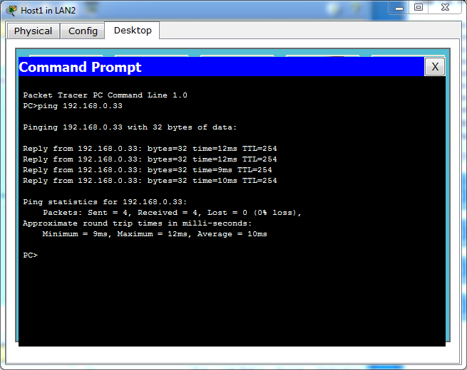 Ping the Ranet Server from Host1 on LAN2.