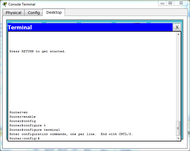 "Global configuration command mode and is entered by typing ""configure terminal""."
